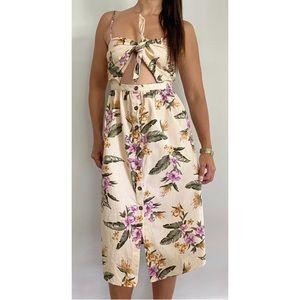 BILLABONG Cream Pink Floral Midi Dress Size AU 10